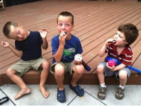 My son Mason (on the right) and his new neighbor friends.