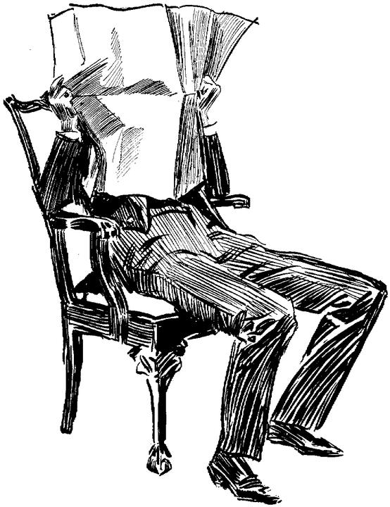 Vintage illustration man reading newspaper in chair face covered.