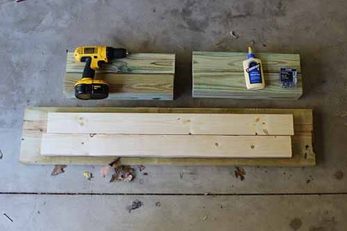 materials for homemade diy wood bench