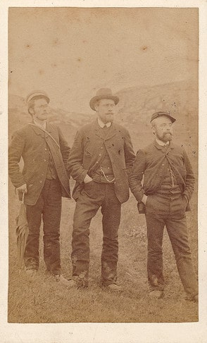vintage 1800s men three guys posing outdoors