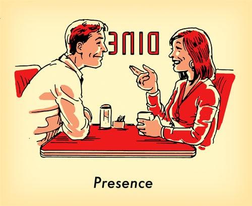 man woman together at old school diner illustration