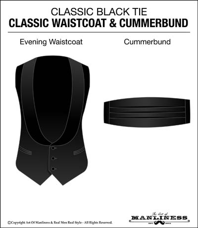 classic black tie outfit waistcoat vest and cummerbund