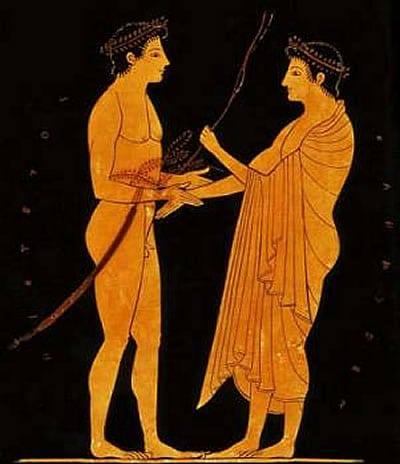 Greek pottery art man being bled ritual.