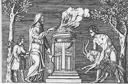 Vintage black white illustration goat being sacrificed on altar.