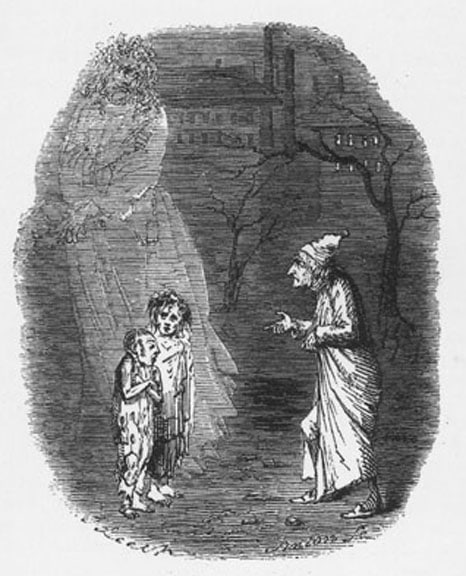 ebenezer scrooge wood engraving meeting two young children