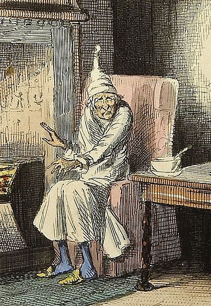 Ebenezer scrooge illustration painting sitting in sleeping robe.