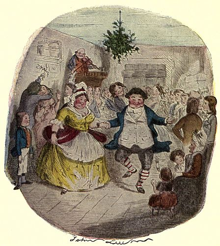 Ebenezer scrooge painting dancing with lady in hall.