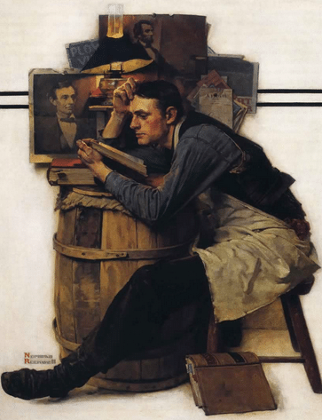 Man blue collar worker reading over barrel illustration painting.