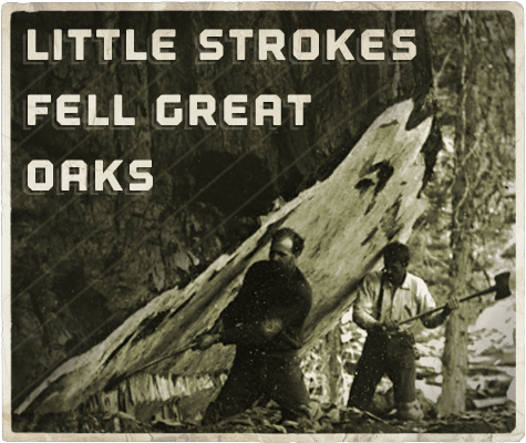 little strokes fell great oak aphorism