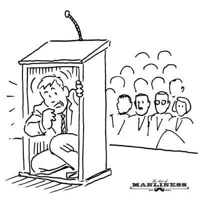 Fear of public speaking man hiding behind podium illustration.