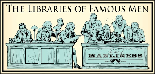 libraries of famous men jefferson douglass lincoln hemingway illustration