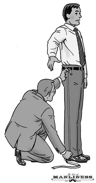 Man being measured by tailor illustration.