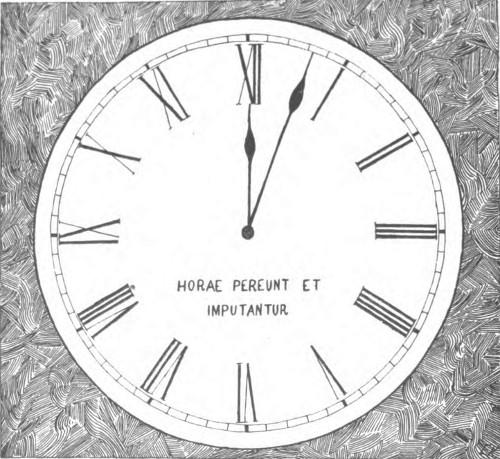 clock engraving horae pereunt et imputantur