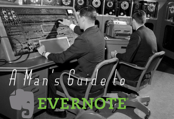 Vintage man at old large computer workstation evernote.