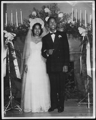vintage african american black wedding couple bride groom