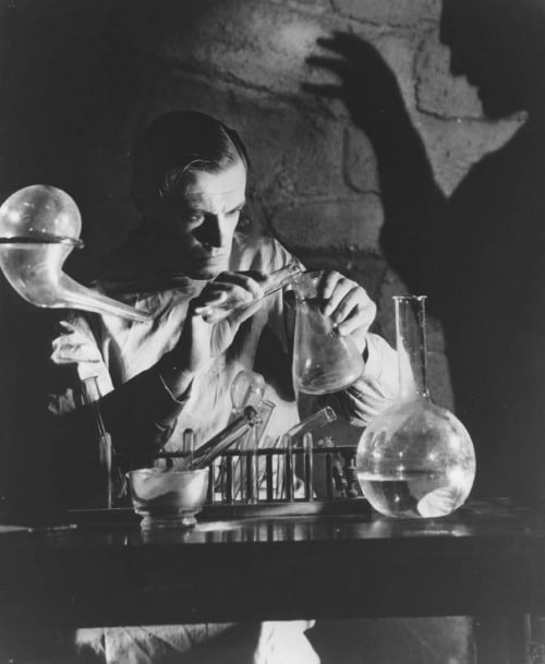vintage dr victor frankenstein in laboratory mid-20th century movie