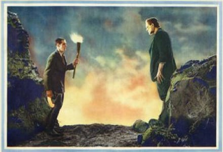 vintage painting illustration dr frankenstein encountering monster