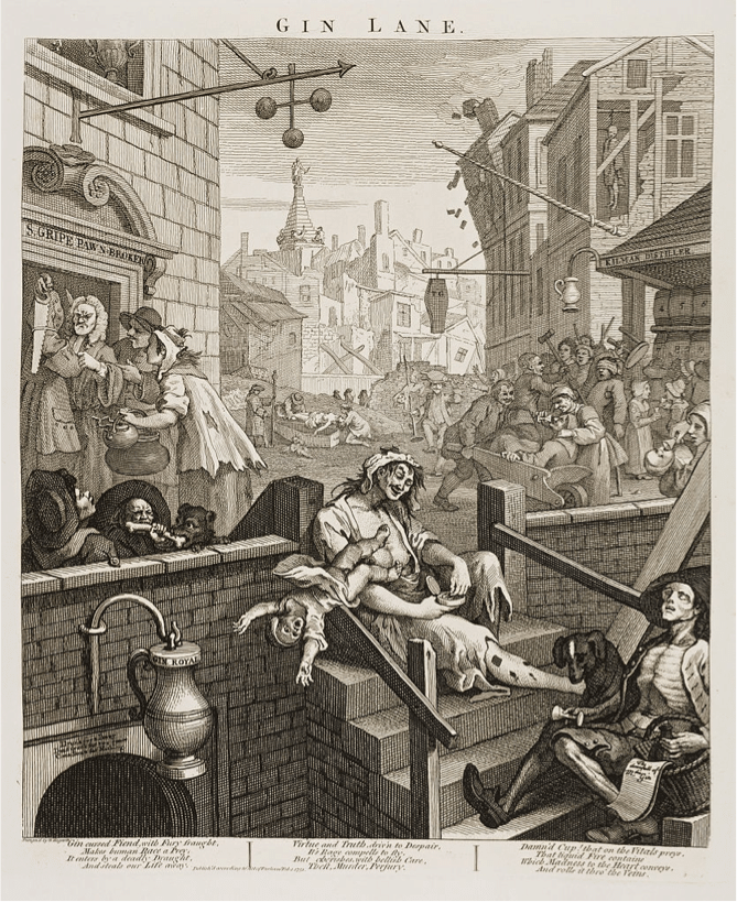 "William Hogarth's ""Gin Lane""."