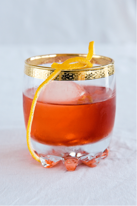 Gin Negroni with orange peel twist.