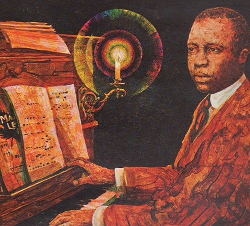 Scott Joplin painting jazz musician pianist playing piano.