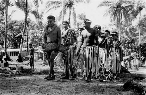vintage trukese tribe war dance ceremony