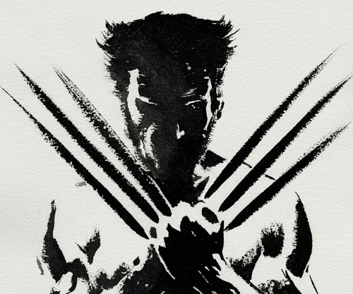 Wolverine black white outline illustration blades extended x men.