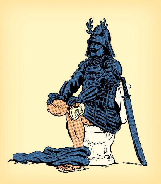 Samurai siting on the toilet seat.