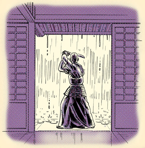 Samurai training during rain illustration.