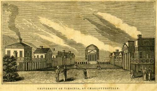Vintage early illustration of university of Virginia Charlottesville.