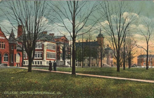 Vintage illustration college campus open grounds.