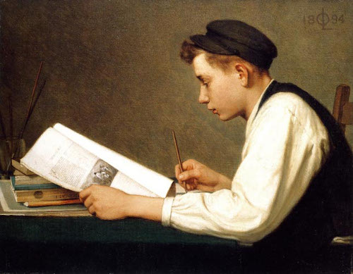vintage boy student doing copy work writing in notebook from book