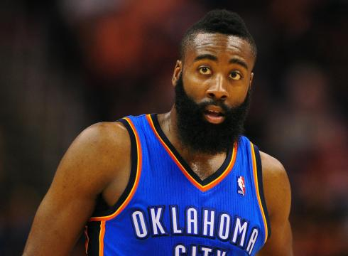 James harden in okc kit while playing basketball game.