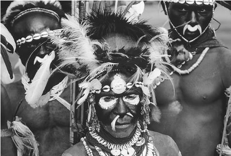 Sambia native tribe man with paint on face.
