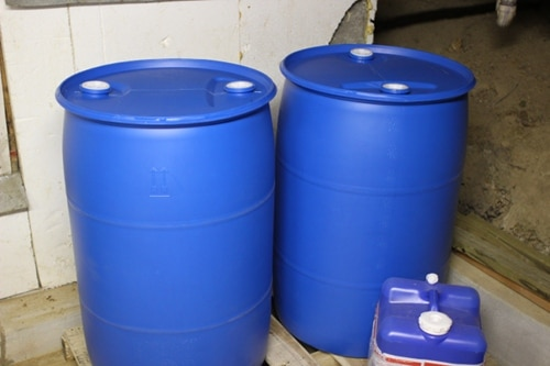 55-gallon drinking water barrels