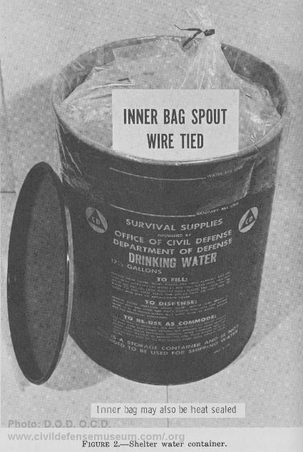 Survival supplies in vintage water barrel.
