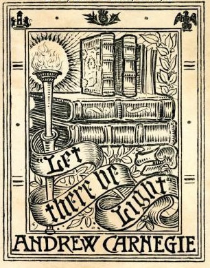 A bookplate by Andrew Carnegie.