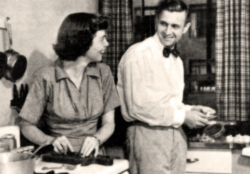 vintage man woman couple cooking in kitchen together
