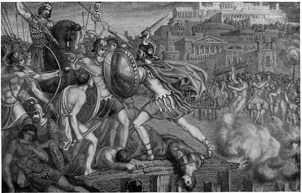 Vintage soldiers fighting with enemies illustration.