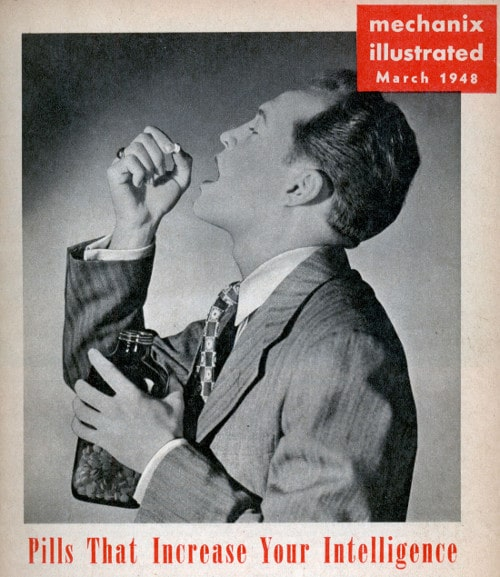 Vintage mechanix illustrated magazine 1948 pills thats increase your intelligence.