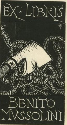 benito mussolini bookplate ex libris