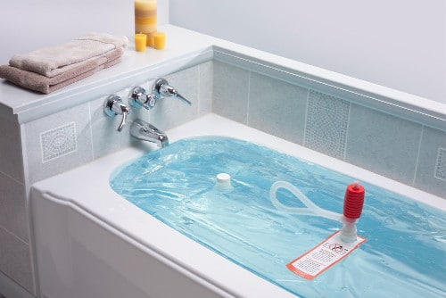 WaterBOB system for emergency water in bath tub.