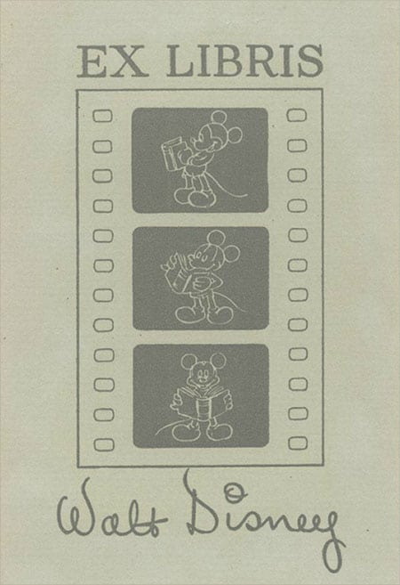 walt disney bookplate ex libris