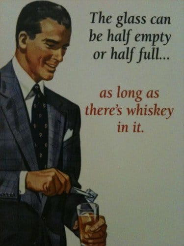 vintage whiskey ad advertisement glass half full whiskey in it