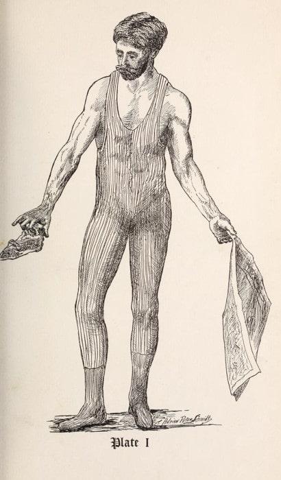 vintage strongman exercise illustration crumbling newspaper