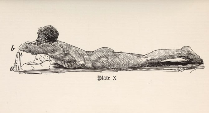Vintage strongman doing spine raise illustration.