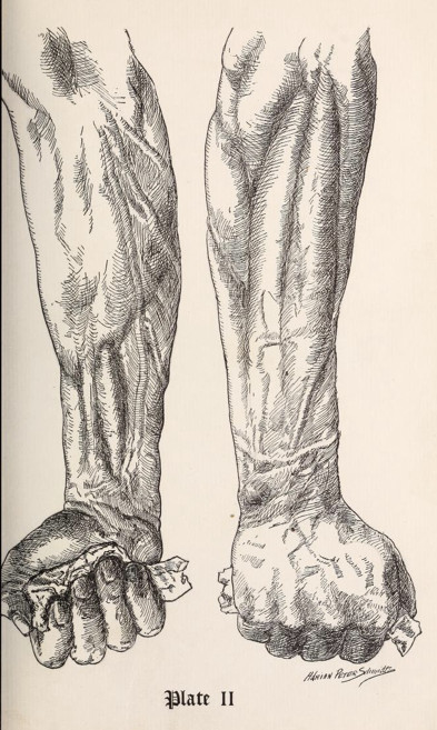 vintage strongman strength exercise illustration gripping paper