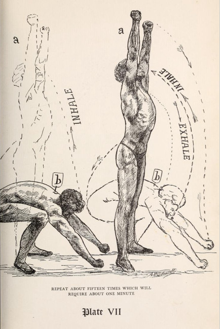 vintage strongman strength exercise illustration body extension