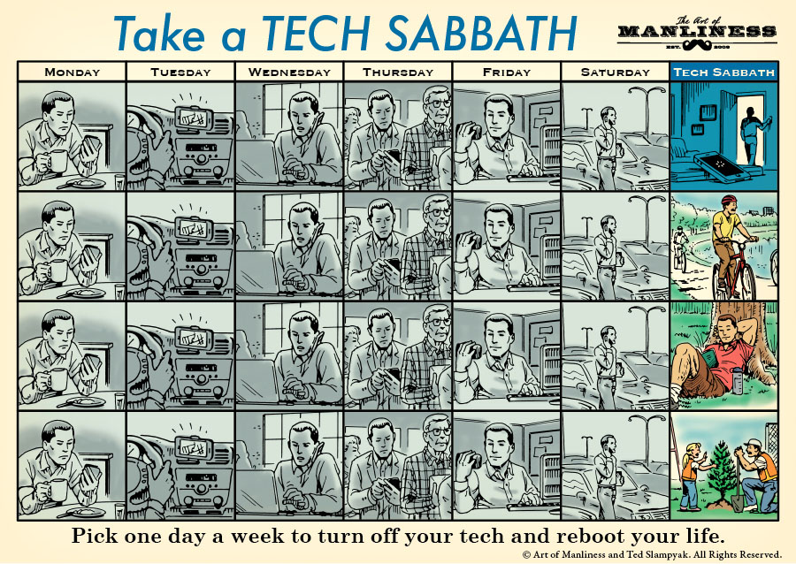 tech sabbath illustration taking day off from technology