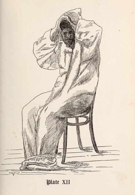 vintage illustration man in bathrobe robe after bath