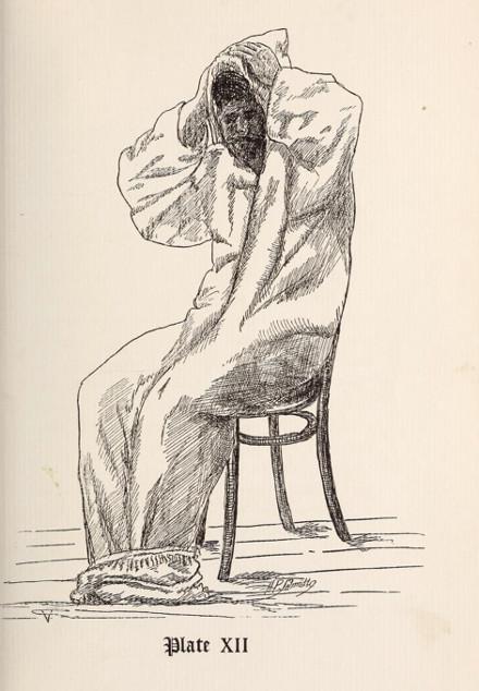 vintage illustration man in bathrobe robe after bath
